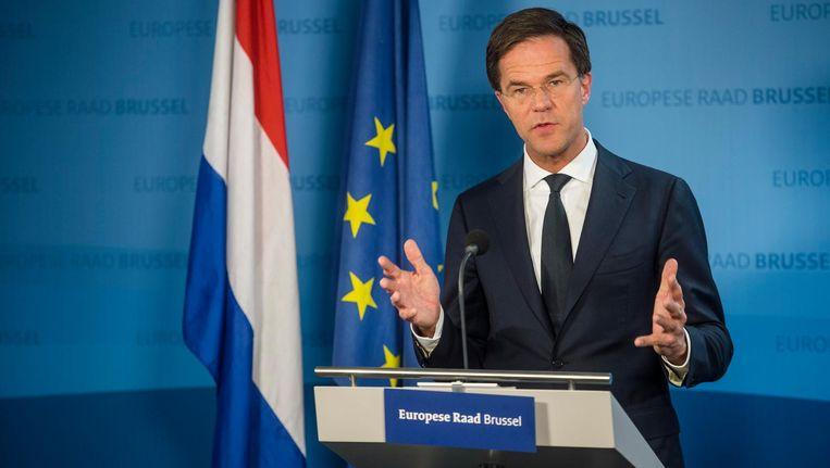 Premier Mark Rutte bij de Europese Top, waar de lidstaten spreken over het associatieverdrag met Oekraine. Beeld anp