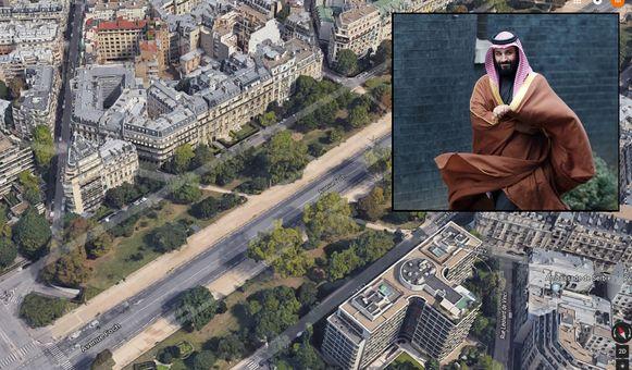 De Avenue Foch, een van de duurste straten van Parijs. Inzet:  de Saudische kroonprins Mohammed.