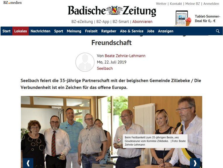 De delegatie uit Zillebeke haalde de Duitse krant bij bezoek aan zusterstad Seelbach.