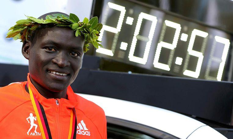 Dennis Kimetto voor zijn wereldrecordtijd in Berlijn Beeld null