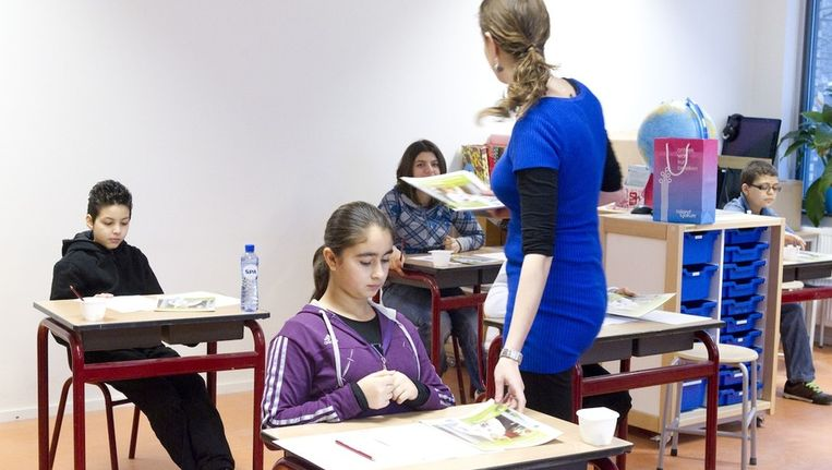Leerlingen van de basisschool St. Lukas in Amsterdam voordat de Cito-toets begint Beeld anp