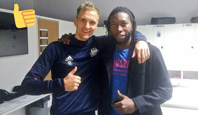 Mbokani het voorbije seizoen tijdens een bezoekje aan Anderlecht met Teodorczyk.