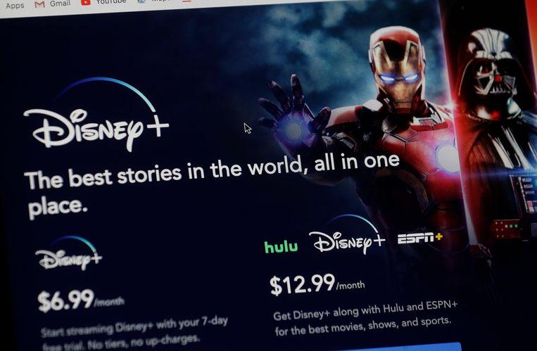Een introductiepagina op de website van Disney+