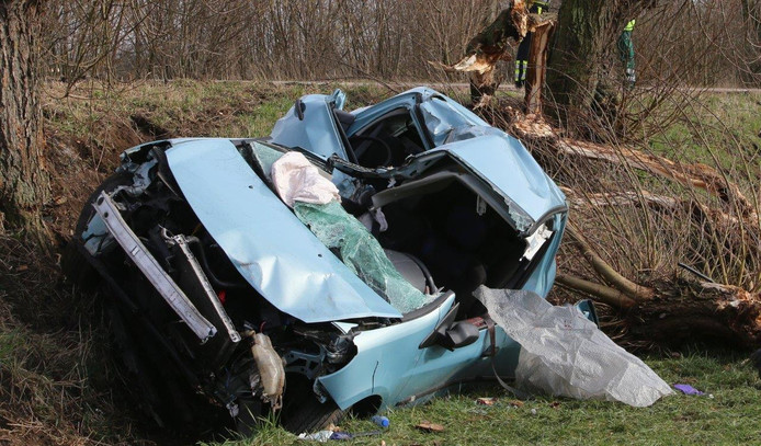 De auto was zwaar beschadigd nadat hij tegen een boom aan reed in Nuland.
