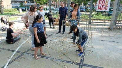 Jongeren pleinwerking vertoeven tegen lente in eigen stek