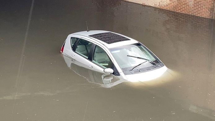 Het koppel tachtigers kon gelukkig ontsnappen alvorens hun auto onderliep.