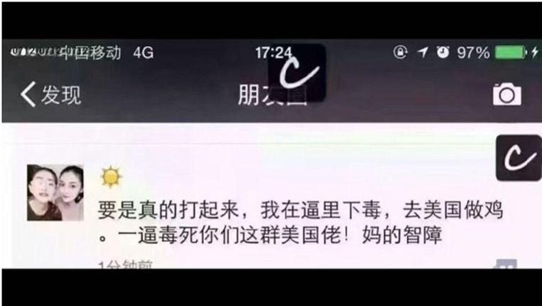 Via twitterdienst Sina Weibo: 'Als de oorlog begint, doe ik vergif in mijn kut. Ga ik naar de Verenigde Staten als hoer. Een vagina vergiftigt jullie allemaal, achterlijke Amerikanen.' Beeld