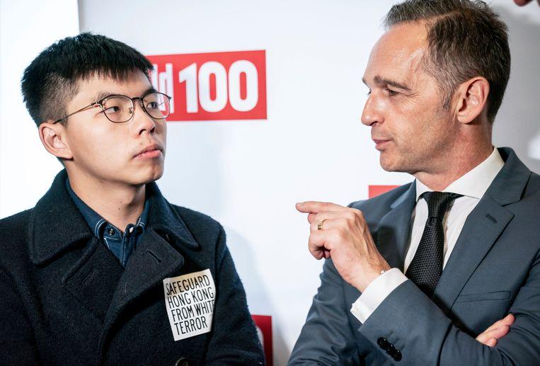 Joshua Wong samen met de Duitse minister van Buitenlandse Zaken Heiko Maas.