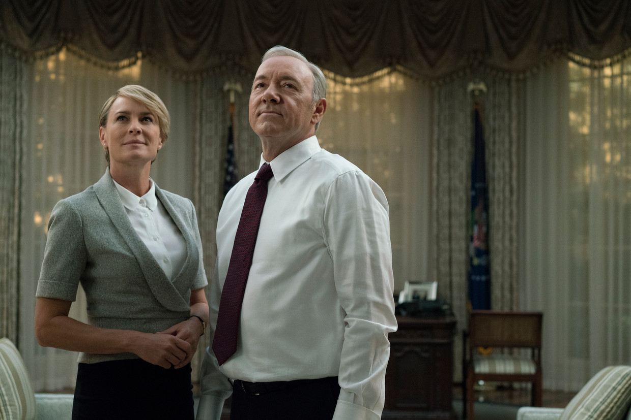 Kevin Spacey en Robin Wright in House of Cards.