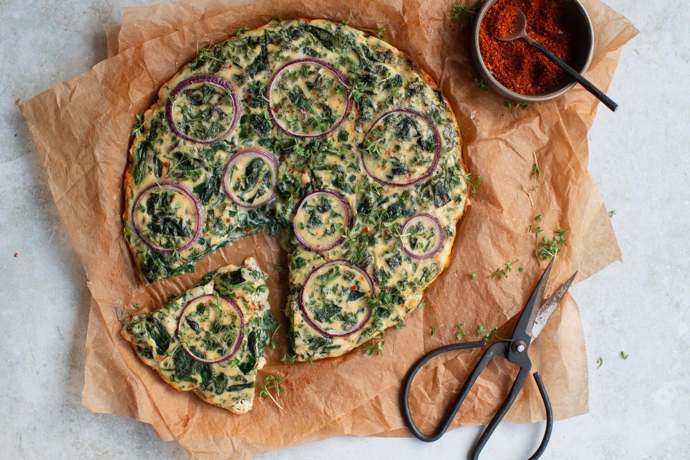 Slanke quiche met boerenkool en spinazie