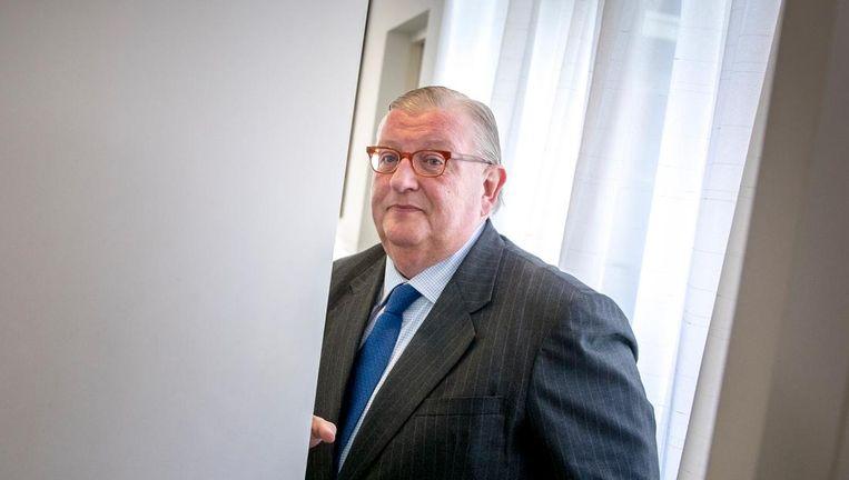 De in opspraak geraakte VVD-voorzitter Henry Keizer in het hoofdkantoor van Facultatieve Media na afloop van een gesprek met de media vorige week. Beeld anp