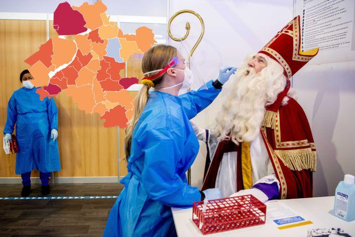 Ook Sinterklaas ontkwam niet aan een coronatest.