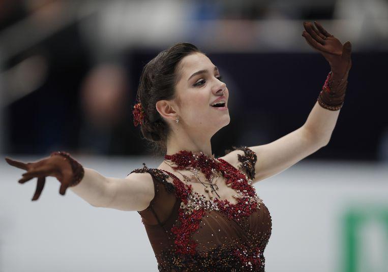 Gewoon aanwezig op de Spelen: Evgenia Medvedeva, de grote favoriete bij het kunstschaatsen. Beeld EPA