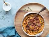 Wat Eten We Vandaag: Zoete-aardappelstamppot met prei en spekjes