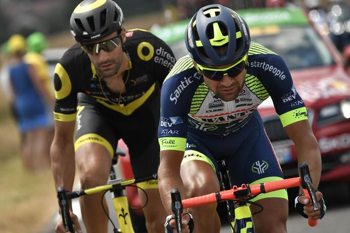 Marco Minnaard (rechts) tijdens de Tour de France van vorig jaar.
