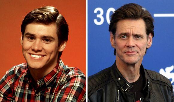 Links: Jim Carrey tijdens zijn jeugd. Het heeft hem geleerd altijd een lach op te zetten.