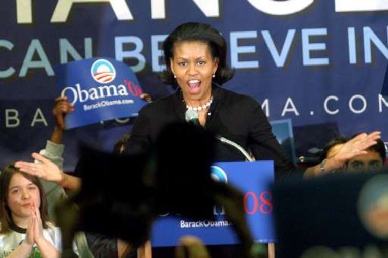 Michelle, de vrouw van Obama, voert ook actief campagne voor haar Barack.