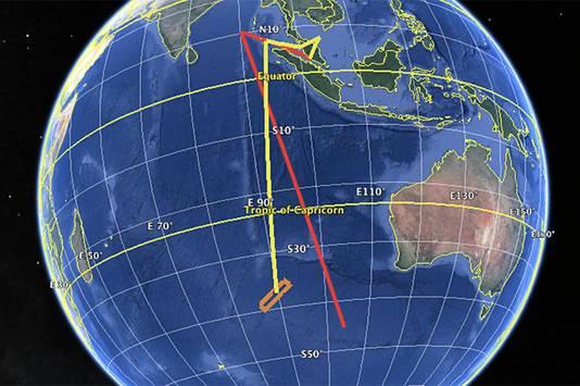 De gele lijn toont de vermoedelijke vlucht van de MH370, links van Australië. De rode vliegroute werd gevonden op de vliegsimulator bij de piloot thuis.