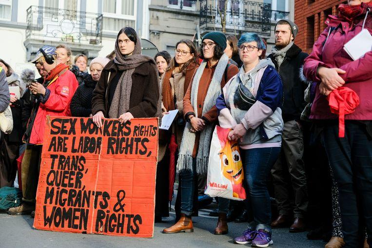 Sekswerkers en sympathisanten verzamelden zich vandaag op de Dag tegen Geweld tegen Sekswerkers.