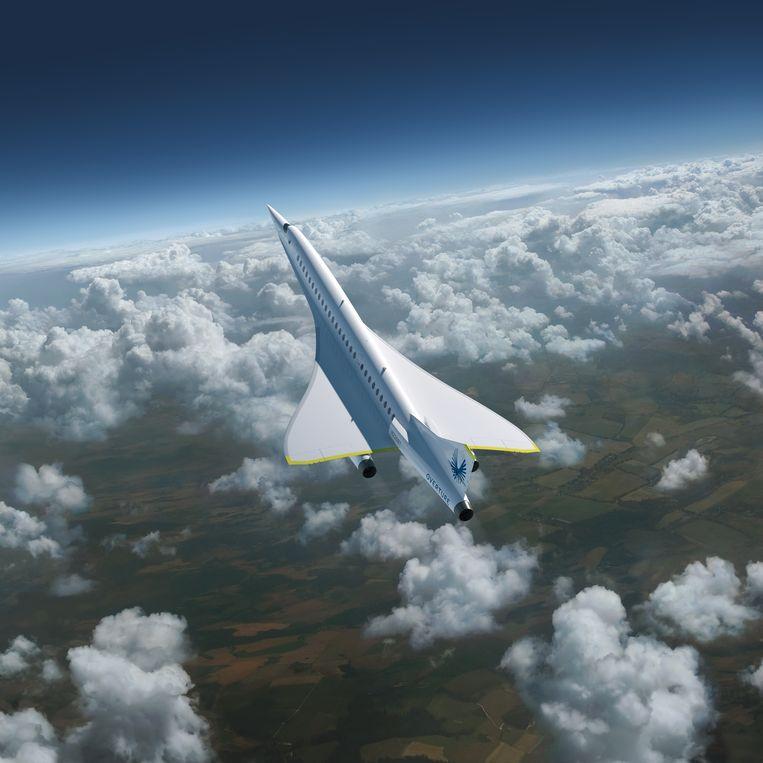 Artistieke verbeelding van de Overture, een supersonisch passagierstoestel dat vanaf 2029 moet gaan vliegen. Beeld Boom Supersonic