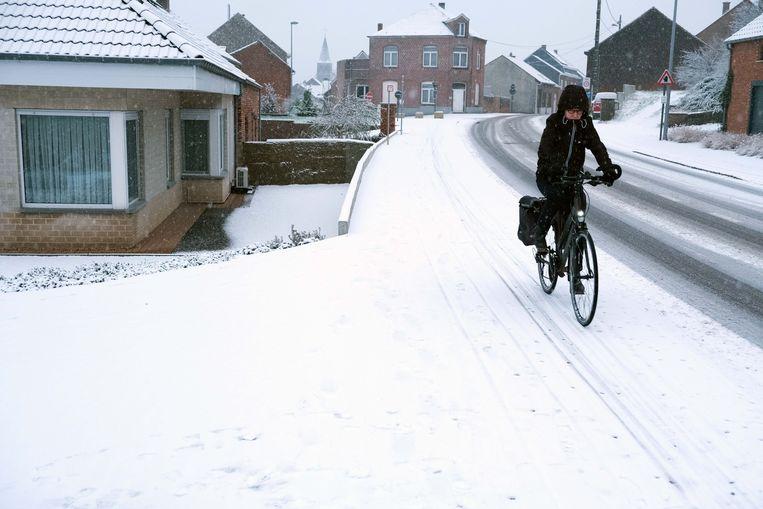 Het fietspad was niet overal sneeuwvrij.
