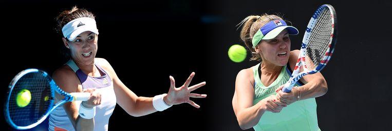 Garbine Muguruza (L) neemt het op tegen Sofia Kenin in de damesfinale van de Australian Open op 1 februari. Beeld Getty Images