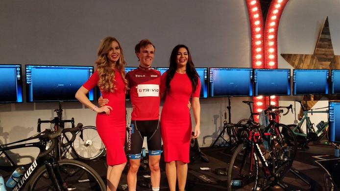 Thijs de Lange met de rode leiderstrui in de Wattmeister Challenge.