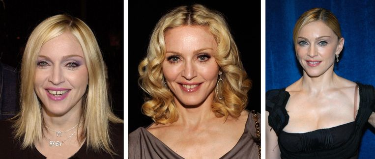 Madonna in 2000, 2003, 2007 (vlnr) Beeld Getty Images