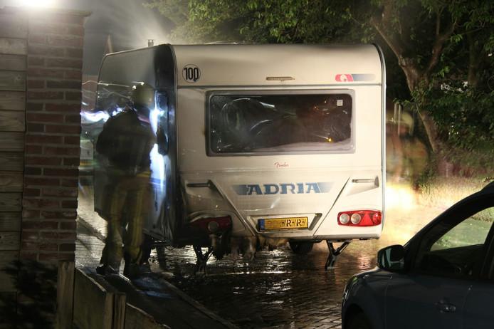 De uitgebrande caravan in Holten