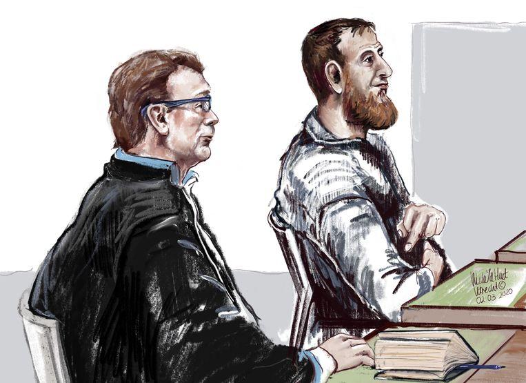 Tramschutter Gökmen T. in de rechtbank in Utrecht tijdens het proces rond de tramaanslag. Beeld Nicole van den Hout