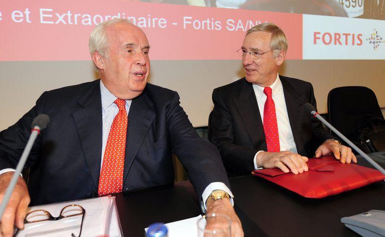 Maurice Lippens and CEO Jean-Paul Votron, voormalige Fortistopmannen tijdens een aandeelhoudersvergadering in 2008.