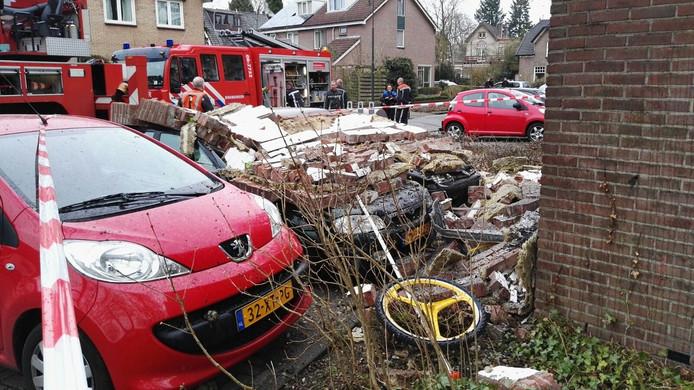 Beeld van de ravage door de explosie in Apeldoorn