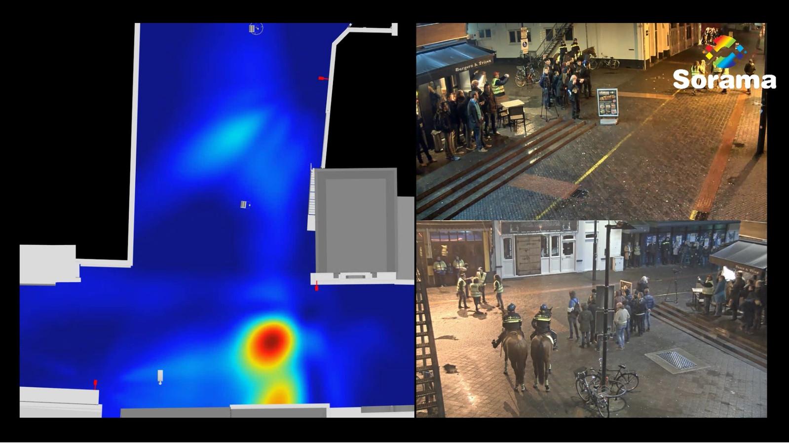 Het Living Lab op Stratumseind werkt met slimme camera's en microfoons. Rechts de ivm privacy vage camerabeelden. Links (de rode vlek) registreren de microfoons geschreeuw van bezoekers van de straat.