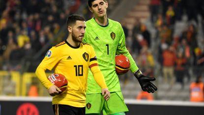 Courtois mag Hazard op blote knieën danken