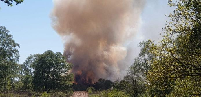 De brandweer zette alles op alles om te voorkomen dat het vuur zou overslaan naar de bosrand.