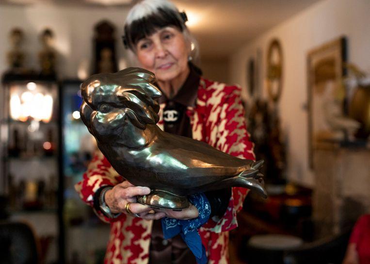 Kleinzoon en oma tonen hun werk. Anne van Borselen: 'Ik had een tortelduifje, toen je nog heel klein was. Zo zijn de vogels in je hoofd gekomen, denk ik.' Beeld Lin Woldendorp