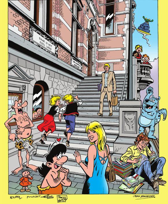 Striptekenaars Jeff Broeckx, Poetzarelli, Sylvain Polfliet, Eric De Rop en Marcel Rouffa maakten deze affiche voor de Grote Signeerdag, met de trappen van het gemeentehuis van Temse als decor.
