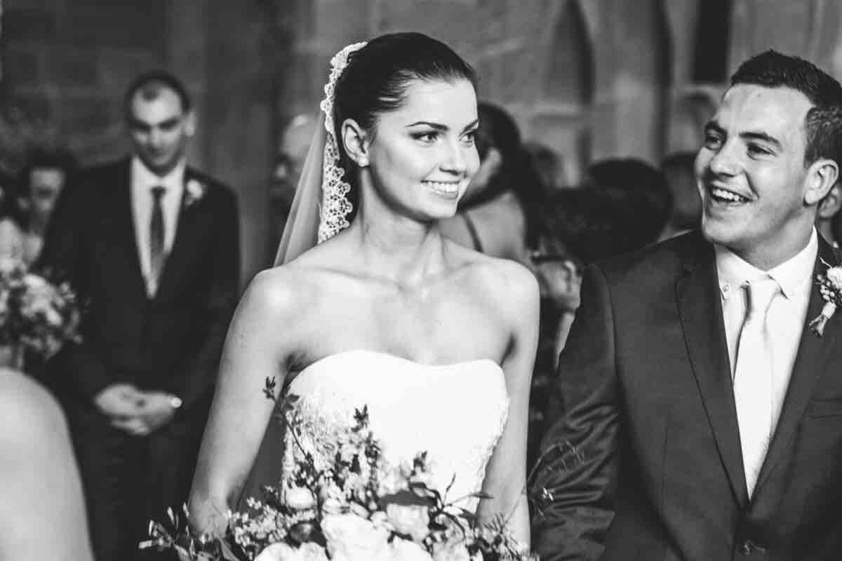 Jermimah en Sebastian tijdens hun huwelijk.