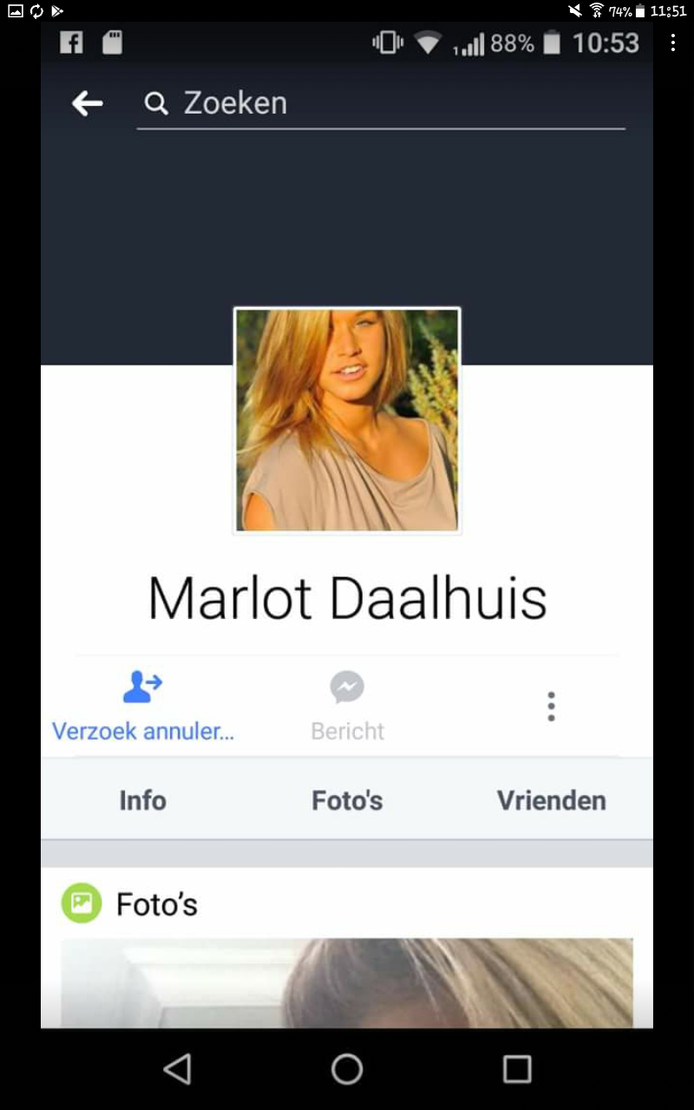 Het Facebookprofiel van de pedofiel die zich voordeed als 'Marlot Daalhuis'.