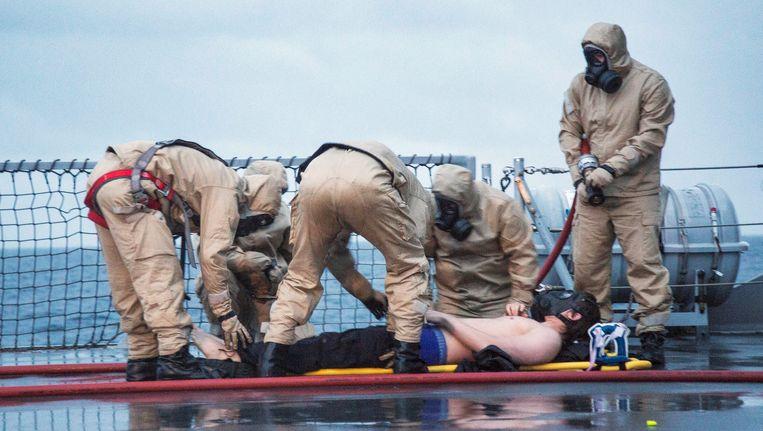 Het arsenaal chemische wapens van Syrië wordt onder toezicht van de OPCW en de VN ontmanteld. Beeld EPA