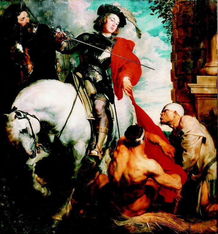 Het schilderij Sint Maarten deelt zijn mantel hangt in de Zaventemse kerk.