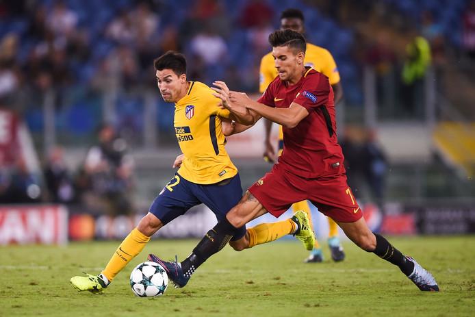 Gaítan als speler van Atlético Madrid in actie tegen AS Roma.