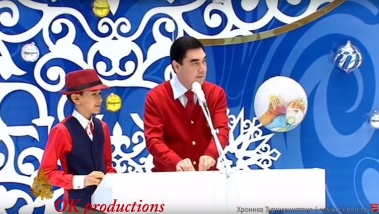 Berdimukhamedov als dj op een kinderfeest. Beeld YouTube