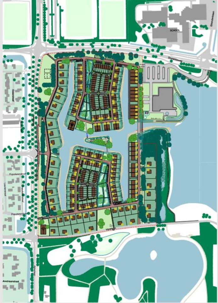 Stedenbouwkundig ontwerp voor de nieuwe woonwijk Akkerlanen in Waalwijk.