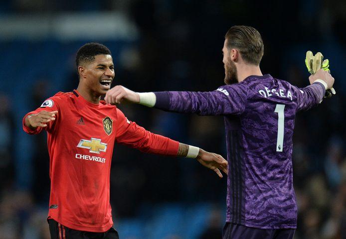 Marcus Rashford met Man United-doelman David De Gea.