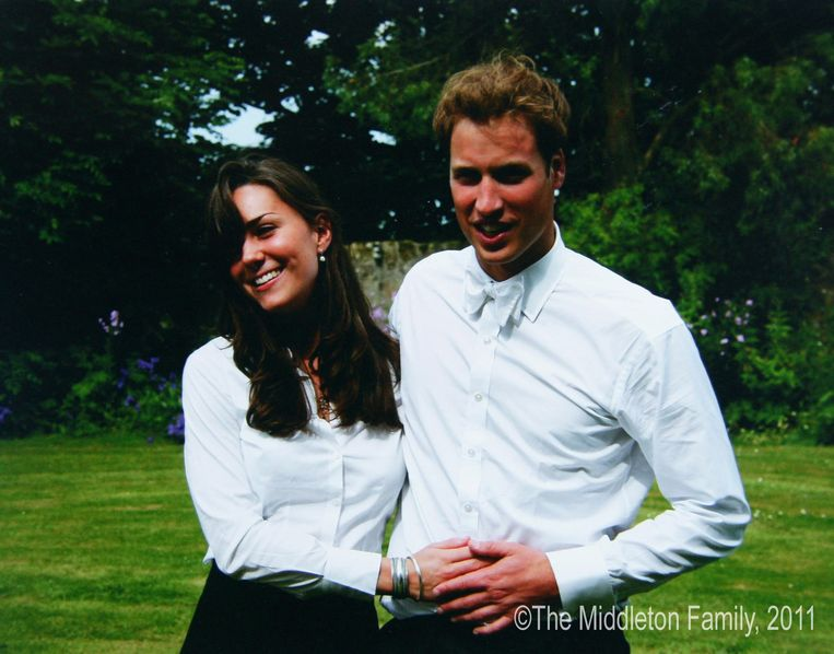 Kate Middleton en prins William bij de overhandiging van hun diploma aan de Universiteit van St Andrews in juni 2005.