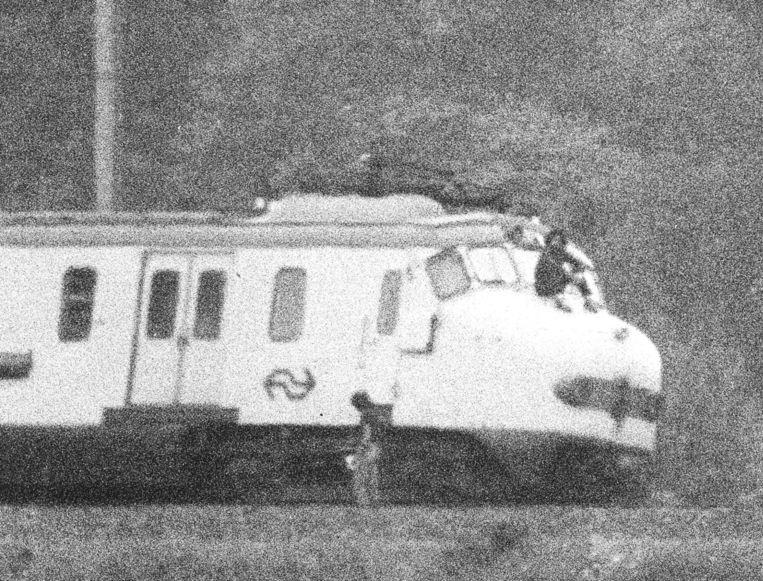 De gekaapte trein, waar de gijzelaars werden vastgehouden. Beeld anp