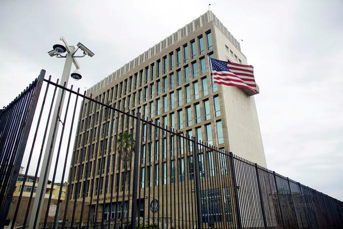 De Amerikaanse ambassade in Havanna.