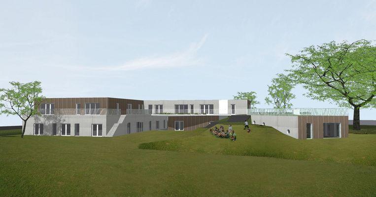 Het nieuwe gebouw op speel- en recreatiesite Zoeber in Hooglede zal omgeven zijn door heuveltjes en andere groene elementen.