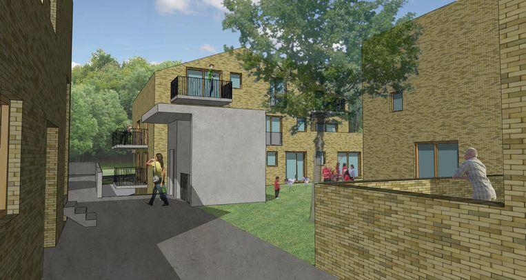 Een simulatie van hoe het sociale woonproject 'Den Bergop' er zal uitzien.